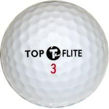 Topflite golfkúla í nærmynd.