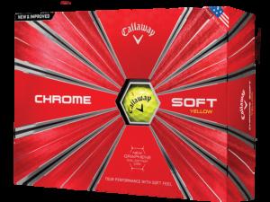 Kassi af gulum Callaway Chrome Soft golfboltum